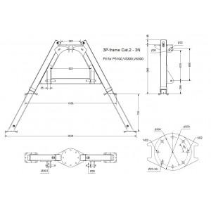 Stativ 3P-RAM V5300-V7300, P5100-P6200, KAT.2, teleskop stödben